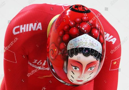 Jinjie Gong of China in Action During the Women's Team Sprint Qualification of the Rio 2016 Olympic Games Track Cycling Events at the Rio Olympic Velodrome in the Olympic Park in Rio De Janeiro Brazil 12 August 2016 Brazil Rio De Janeiro