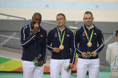Bronze Medalists Gregory Bauge Michael D'almeida and Francois Pervis of France Smile During the Medal Ceremony For the Men's Team Sprint Competition of the Rio 2016 Olympic Games Track Cycling Events at the Rio Olympic Velodrome in the Olympic Park in Rio De Janeiro Brazil 11 August 2016 Brazil Rio De Janeiro