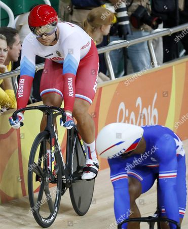 Denis Dmitriev (l) of Russia Competes Against Gregory Bauge of France During the Men's Sprint Quarter Finals of the Rio 2016 Olympic Games Track Cycling Events at the Rio Olympic Velodrome in the Olympic Park in Rio De Janeiro Brazil 13 August 2016 Brazil Rio De Janeiro