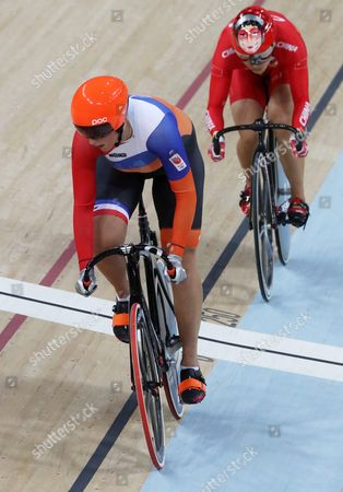 Elis Ligtlee (l) of the Netherland in Action Against Jinjie Gong of China During the Women's Sprint 1/16 Finals of the Rio 2016 Olympic Games Track Cycling Events at the Rio Olympic Velodrome in the Olympic Park in Rio De Janeiro Brazil 14 August 2016 Brazil Rio De Janeiro
