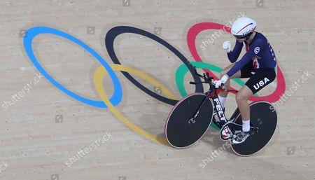 Sarah Hammer of the Us in Action During the Rio 2016 Olympic Games Women's Omnium Time Trial 4/6 at the Rio Olympic Velodrome in the Olympic Park in Rio De Janeiro Brazil 16 August 2016 Brazil Rio De Janeiro