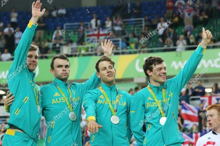 Stock Image of Australia's Mens Team Pursuit Team Consisting of Michael Hepburn Jack Bobridge Sam Welsford and Alexander Edmondson with Their Medals For Placing Silver in the Men's Team Pursuit of the Rio 2016 Olympic Games Track Cycling Events at the Rio Olympic Velodrome in the Olympic Park in Rio De Janeiro Brazil 12 August 2016 Brazil Rio De Janeiro