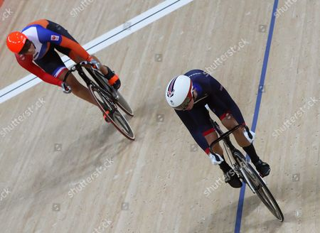 Elis Ligtlee (l) of the Netherlands in Action Against Rebecca James (r) of Britain During the Women's Sprint Semi Finals of the Rio 2016 Olympic Games Track Cycling Events at the Rio Olympic Velodrome in the Olympic Park in Rio De Janeiro Brazil 16 August 2016 Brazil Rio De Janeiro