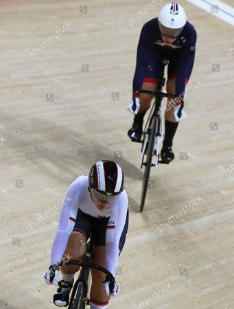 Kristina Vogel (front) of Germany in Action Against Rebecca James (back) of Britain During the Women's Sprint Gold Medal Final of the Rio 2016 Olympic Games Track Cycling Events at the Rio Olympic Velodrome in the Olympic Park in Rio De Janeiro Brazil 16 August 2016 Vogel Won the Gold Medal Brazil Rio De Janeiro