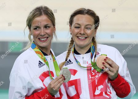 Bronze Medalist Katy Marchant (r) and Silver Medalist Rebecca James of Great Britain During the Medal Ceremony For the Women's Sprint Final of the Rio 2016 Olympic Games Track Cycling Events at the Rio Olympic Velodrome in the Olympic Park in Rio De Janeiro Brazil 16 August 2016 Brazil Rio De Janeiro