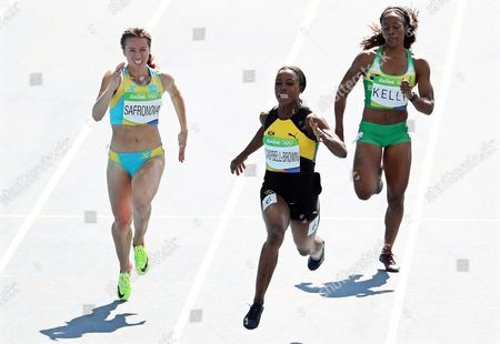 (l-r) Olga Safronova of Kazakhstan Veronica Campbell-brown of Jamaica and Ashley Kelly of the British Virgin Islands Compete During the Women's 200m Heats of the Rio 2016 Olympic Games Athletics Track and Field Events at the Olympic Stadium in Rio De Janeiro Brazil 15 August 2016 Brazil Rio De Janeiro