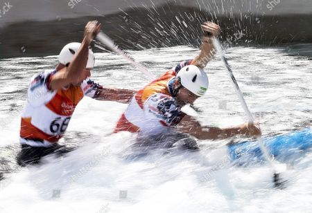 Richard Hounslow (l) and David Florence (r) of Great Britain React After the Men's Canoe Double (c2) Final Race of the Rio 2016 Olympic Games Canoe Slalom Events at the Whitewater Stadium in Rio De Janeiro Brazil 11 August 2016 Brazil Rio De Janeiro