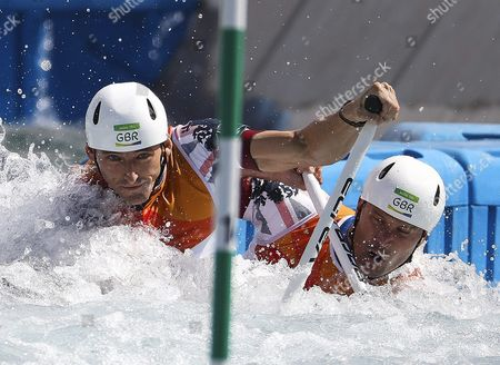 Richard Hounslow (l) and David Florence of Great Britain Compete During the Men's Canoe Double (c2) Final Race of the Rio 2016 Olympic Games Canoe Slalom Events at the Whitewater Stadium in Rio De Janeiro Brazil 11 August 2016 Brazil Rio De Janeiro