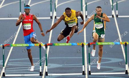 (l-r) Javier Culson of Puerto Rico Annsert Whyte of Jamaica and Louis Jacobus Van Zyl of South Africa Compete During the Men's 400m Hurdles Semi Finals of the Rio 2016 Olympic Games Athletics Track and Field Events at the Olympic Stadium in Rio De Janeiro Brazil 16 August 2016 Brazil Rio De Janeiro