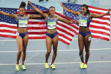 (l-r) Kristi Castlin (bronze) Brianna Rollins (gold) and Nia Ali (silver) Celebrate After the Rio 2016 Olympic Games Women's 100m Hurdles Final at the Olympic Stadium in Rio De Janeiro Brazil 17 August 2016 Brazil Rio De Janeiro