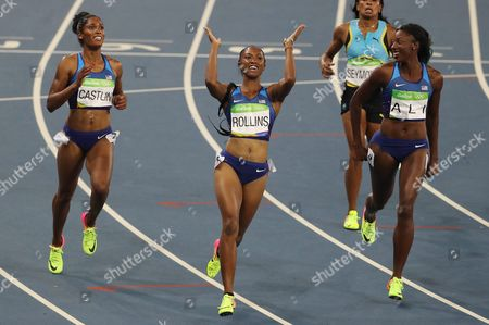 (l-r) Kristi Castlin of the Us (bronze) Brianna Rollins of the Us (gold) and Nia Ali of the Us (silver) Celebrate After the Rio 2016 Olympic Games Women's 100m Hurdles Final at the Olympic Stadium in Rio De Janeiro Brazil 17 August 2016 Brazil Rio De Janeiro