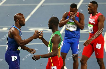 Lashawn Merritt (l) of the Usa Shakes Hands with Kirani James (c) of Grenada After Competing During the Men's 400m Semi Finals of the Rio 2016 Olympic Games Athletics Track and Field Events at the Olympic Stadium in Rio De Janeiro Brazil 13 August 2016 Brazil Rio De Janeiro
