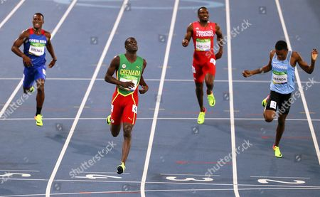 Kirani James (2-l) of Grenada Competes During the Men's 400m Semi Finals of the Rio 2016 Olympic Games Athletics Track and Field Events at the Olympic Stadium in Rio De Janeiro Brazil 13 August 2016 Brazil Rio De Janeiro