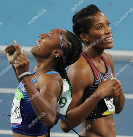 Brianna Rollins of the Us Celebrates Her Gold Near Phylicia George of Canada (8th) After the Rio 2016 Olympic Games Women's 100m Hurdles Final at the Olympic Stadium in Rio De Janeiro Brazil 17 August 2016 Brazil Rio De Janeiro