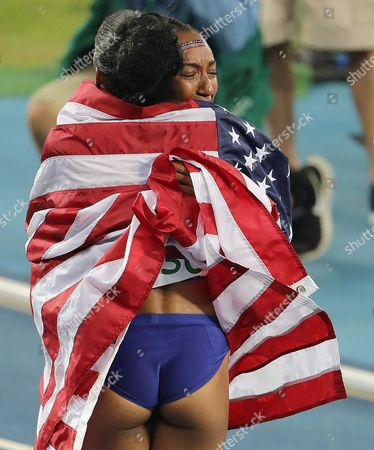 Kristi Castlin (bronze L) and Brianna Rollins (gold R) Celebrate After the Rio 2016 Olympic Games Women's 100m Hurdles Final at the Olympic Stadium in Rio De Janeiro Brazil 17 August 2016 Brazil Rio De Janeiro
