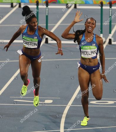 Stock Image of Kristi Castlin (bronze L) and Brianna Rollins (gold R) Cross the Finish Line in Rio 2016 Olympic Games Women's 100m Hurdles Final at the Olympic Stadium in Rio De Janeiro Brazil 17 August 2016 Brazil Rio De Janeiro