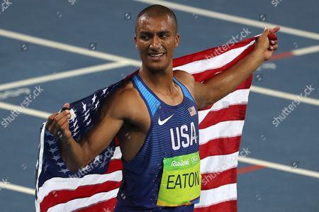 Ashton Eaton of the Usa Celebrates After Running the Men's Decathlon 1500m Race in the Decathlon of the Rio 2016 Olympic Games Athletics Track and Field Events at the Olympic Stadium in Rio De Janeiro Brazil 18 August 2016 Eaton Won the Gold Medal Brazil Rio De Janeiro