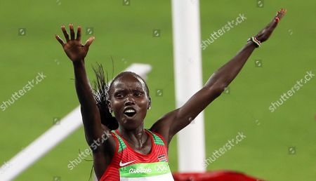 Vivian Jepkemoi Cheruiyot of Kenya Celebrates After Crossing the Finish Line to Win the Women's 5000m Final of the Rio 2016 Olympic Games Athletics Track and Field Events at the Olympic Stadium in Rio De Janeiro Brazil 19 August 2016 Brazil Rio De Janeiro