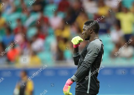 Nigeria's Goalkeeper Daniel Akpeyi Reacts During the Men's Quarterfinal Match Between Nigeria and Denmark For the Rio 2016 Olympic Games Soccer Competition at Arena Fonte Nova in Salvador Brazil 13 August 2016 Brazil Salvador