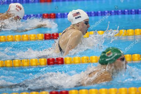 (l-r) Shi Jinglin of China Lilly King of the Usa and Ruta Meilutyte of Lithuania Compete in the Women's 100m Breastroke Heats of the Rio 2016 Olympic Games Swimming Events at Olympic Aquatics Stadium at the Olympic Park in Rio De Janeiro Brazil 07 August 2016 Brazil Rio De Janeiro