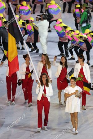 Flag Bearer Olivia Borlee (c) of Belgium Leads Her Team Into the Maracana Stadium During the Opening Ceremony of the Rio 2016 Olympic Games in Rio De Janeiro Brazil 05 August 2016 Brazil Rio De Janeiro