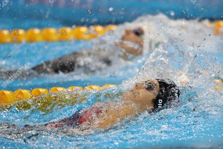 Katinka Hosszu of Hungary (top) and Maya Dirado of Usa (bottom) Compete in a Women's 200m Backstroke Semifinal Race of the Rio 2016 Olympic Games Swimming Events at Olympic Aquatics Stadium at the Olympic Park in Rio De Janeiro Brazil 11 August 2016 Brazil Rio De Janeiro