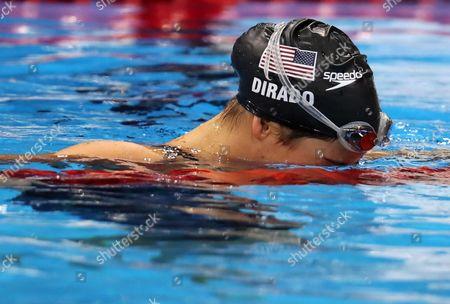 Maya Dirado of Usa Celebrates Winning the Women's 200m Backstroke Final Race of the Rio 2016 Olympic Games Swimming Events at Olympic Aquatics Stadium at the Olympic Park in Rio De Janeiro Brazil 12 August 2016 Brazil Rio De Janeiro