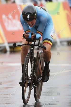 Ann-sophie Duyck of Belgium in Action During the Women's Individual Time Trial of the Rio 2016 Olympic Games Road Cycling Events at Pontal in Rio De Janeiro Brazil 10 August 2016 Brazil Rio De Janeiro