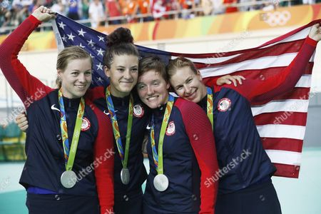Silver Medal Winners Usa Jennifer Valente Chloe Dygert Kelly Catlin and Sarah Hammer Pose After the Medal Ceremony For the Women's Team Pursuit Final of the Rio 2016 Olympic Games Track Cycling Events at the Rio Olympic Velodrome in the Olympic Park in Rio De Janeiro Brazil 13 August 2016 Brazil Rio De Janeiro