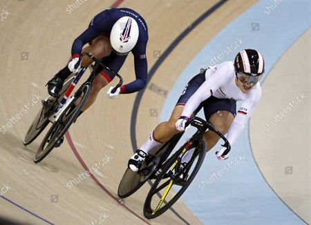 Kristina Vogel (r) of Germany in Action Against Rebecca James (l) of Britain During the Women's Sprint Gold Medal Final of the Rio 2016 Olympic Games Track Cycling Events at the Rio Olympic Velodrome in the Olympic Park in Rio De Janeiro Brazil 16 August 2016 Vogel Won the Gold Medal Brazil Rio De Janeiro