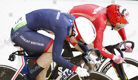 Rebecca James of Great Britain (l) and Tianshi Zhong of China in Action During the Rio 2016 Olympic Games Women's Sprint Quarterfinals at the Rio Olympic Velodrome in the Olympic Park in Rio De Janeiro Brazil 16 August 2016 Brazil Rio De Janeiro