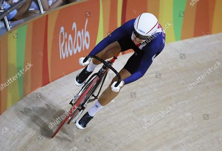 Sarah Hammer of the Usa in Action During the Women's Omnium Flying Lap 5/6 of the Rio 2016 Olympic Games Track Cycling Events at the Rio Olympic Velodrome in the Olympic Park in Rio De Janeiro Brazil 16 August 2016 Brazil Rio De Janeiro