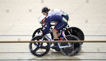 Kristina Vogel (back) of Germany in Action Against Rebecca James (front) of Britain During the Women's Sprint Gold Medal Final of the Rio 2016 Olympic Games Track Cycling Events at the Rio Olympic Velodrome in the Olympic Park in Rio De Janeiro Brazil 16 August 2016 Brazil Rio De Janeiro