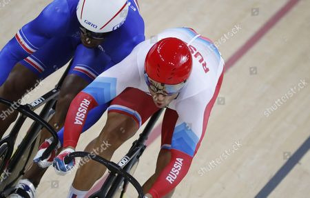 Denis Dmitriev (r) of Russia Competes Against Gregory Bauge of France During the Men's Sprint Quarter Finals of the Rio 2016 Olympic Games Track Cycling Events at the Rio Olympic Velodrome in the Olympic Park in Rio De Janeiro Brazil 13 August 2016 Brazil Rio De Janeiro