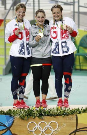 Gold Medalist Kristina Vogel (c) of Germany Bronze Medalist Katy Marchant (r) and Silver Medalist Rebecca James of Great Britain During the Medal Ceremony For the Women's Sprint Final of the Rio 2016 Olympic Games Track Cycling Events at the Rio Olympic Velodrome in the Olympic Park in Rio De Janeiro Brazil 16 August 2016 Brazil Rio De Janeiro