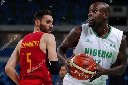 Nigeria's Al-farouq Aminu (r) and Spain's Rudy Fernandez During the Men's Basketball Preliminary Group B Game Between Nigeria and Spain of the Rio 2016 Olympic Games at the Carioca Arena 1 in the Olympic Park in Rio De Janeiro Brazil 11 August 2016 Brazil Rio De Janeiro