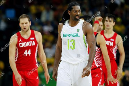 Nene Hilario (c) of Brazil Reacts During the Men's Basketball Preliminary Round Game Between Brazil and Croatia at the Rio 2016 Olympic Games at the Carioca Arena 1 in the Olympic Park in Rio De Janeiro Brazil 11 August 2016 Brazil Rio De Janeiro