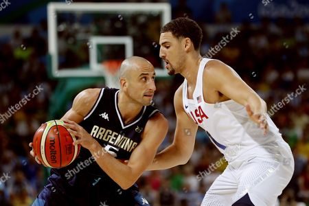 Argentina's Manu Ginobili (l) in Action with Usa's Klay Thompson During the Men's Basketball Quarter Final Match Between the Usa and Argentina of the Rio 2016 Olympic Games at the Carioca Arena 1 in the Olympic Park in Rio De Janeiro Brazil 17 August 2016 Brazil Rio De Janeiro