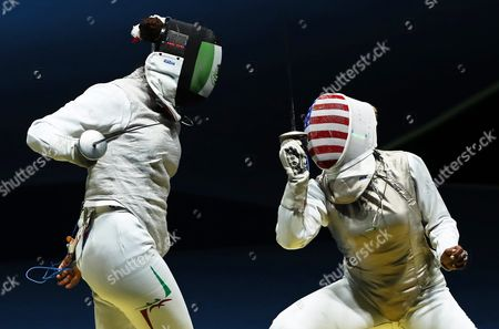 Nataly Michel (l) of Mexico in Action Against Nzingha Prescod (r) of the Usa During the Women's Foil Individual Round of 32 of the Rio 2016 Olympic Games Fencing Events at the Carioca Arena 3 in the Olympic Park in Rio De Janeiro Brazil 10 August 2016 Brazil Rio De Janeiro