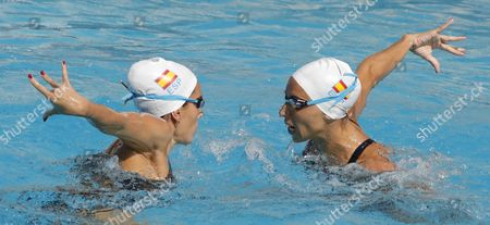 Spanish Synchronized Swimmers Ona Carbonell (r) and Gemma Mengual (l) Perform During a Training Session at Marina Lenk Acuatic Center in Rio De Janeiro Brazil 04 August 2016 Brazil Rio De Janeiro