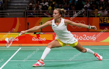 Stock Picture of Laura Sarosi of Hungary in Action Against Pusarla Venkata Sindhu of India During Their Women's Singles Group Stage Game of the Rio 2016 Olympic Games Badminton Events at the Riocentro in Rio De Janeiro Brazil 11 August 2016 Brazil Rio De Janeiro