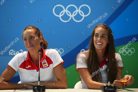 Synchronized Swimmers Gemma Mengual (l) and Ona Carbonell (r) of Spain Attend a Press Conference of the Rio 2016 Olympic Games Synchronised Swimming Events at the Olympic Village in Rio De Janeiro Brazil 09 August 2016 Brazil Rio De Janeiro