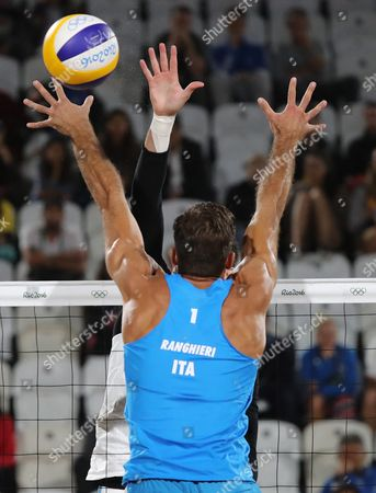 Alex Ranghieri of Italy in Action During the Men's Beach Volleyball Match Between Ranghieri/carambula of Italy and Nicolai/lupo of Italy For the Rio 2016 Olympic Games Beach Volleyball Tournament on Copacabana Beach in Rio De Janeiro Brazil 12 August 2016 Brazil Rio De Janeiro