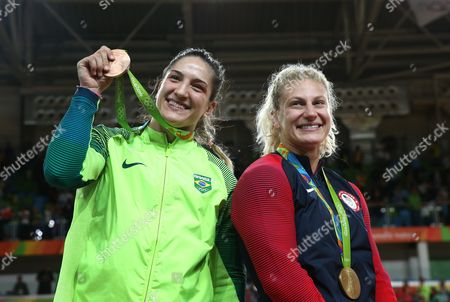 Bronze Medalists Mayra Aguiar of Brazil and Gold Medalist Kayla Harrison of the Usa Pose with Their Medals During the Awards Eremony For the Womens's -78kg Bout of the Rio 2016 Olympic Games Judo Events at the Carioca Arena 2 in the Olympic Park in Rio De Janeiro Brazil 11 August 2016 Brazil Rio De Janeiro