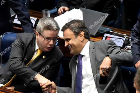Senators Aecio Neves (r) and Antonio Anastasia (l) Attend the Last Impeachment Hearing Against Brazilian Suspended President Dilma Rousseff at the Senate in Brasilia Brazil 31 August 2016 Brazil's Senate on 31 August 2016 Voted to Impeach President Dilma Rousseff After Finding Her Guilty of Manipulating the State Budget Interim President Michel Temer Will Complete Her Mandate Which Ends on 01 January 2019 Brazil Brasilia