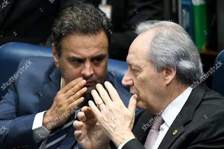 Supreme Court President Ricardo Lewandowski (r) and Senator Aecio Neves (l) Attend a Senate Hearing Before the Planned Vote on 31 August on Whether to Impeach the Suspended President Rousseff at the Senate in Brasilia Brazil 30 August 2016 Rousseff was Suspended on 12 May After the Lower House of Congress Voted to Impeach Her on Charges That She Manipulated Budget Figures to Disguise the Size of the Deficit Brazil Brasilia