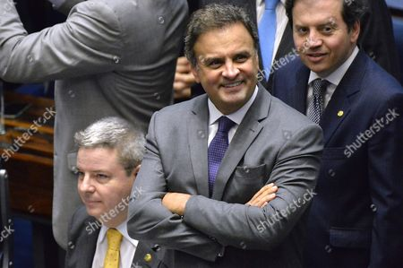 Senator Aecio Neves (c) Attends the Last Impeachment Hearing Against Brazilian Suspended President Dilma Rousseff at the Senate in Brasilia Brazil 31 August 2016 Brazil's Senate on 31 August 2016 Voted to Impeach President Dilma Rousseff After Finding Her Guilty of Manipulating the State Budget Interim President Michel Temer Will Complete Her Mandate Which Ends on 01 January 2019 Brazil Brasilia