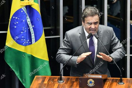 Senator Aecio Neves Speaks During the Last Impeachment Hearing Against Brazilian Suspended President Dilma Rousseff at the Senate in Brasilia Brazil 31 August 2016 Brazil's Senate on 31 August 2016 Voted to Impeach President Dilma Rousseff After Finding Her Guilty of Manipulating the State Budget Interim President Michel Temer Will Complete Her Mandate Which Ends on 01 January 2019 Brazil Brasilia
