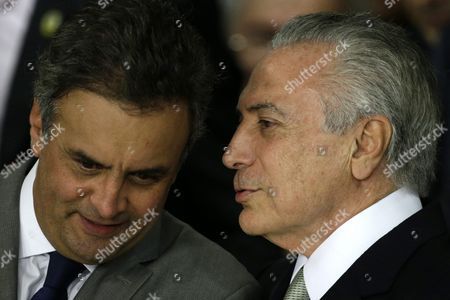 Interim Brazilian President Michel Temer and Psdb President Aecio Neves (l) Attend an Inauguration Ceremony in Brasilia Brazil 12 May 2016 Brazilian President Dilma Rousseff on 12 May 2016 was Suspended From Office in Order to Face an Impeachment Trial on Charges of Using Accounting Trickery in 2014 when She Won Re-election and 2015 to Disguise the Size of the Budget Deficit Rousseff Denies Any Wrongdoing and Says She is the Victim of a Coup if She is Permanently Ousted Temer Will Serve out the Rest of Her Term Which Currently is Due to Expire on 01 January 2019 Brazil Brasilia