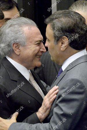 Brazilian President Michel Temer (l) Greets Senator Aecio Neves (r) at the National Congress in Brasilia Brazil 31 August 2016 Temer was Sworn As the New President of Brazil After the Impeachment of the President Dilma Rousseff Brazil Brasilia